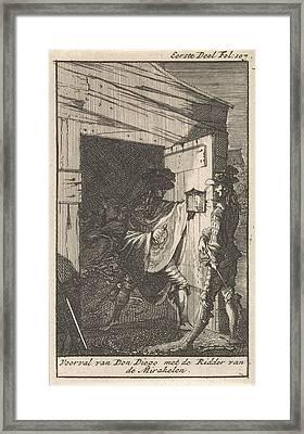 Don Diego Meets A Man With A Lantern, Caspar Luyken Framed Print