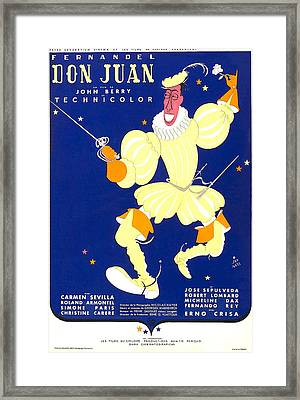 Don Juan, French Poster, Fernandel, 1956 Framed Print
