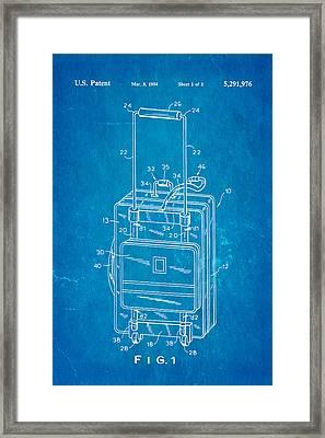 Don Ku Wheeled Collapsible Luggage Patent Art 1994 Blueprint Framed Print