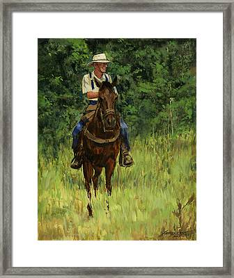 Jack On His Horse Chico Framed Print by Don  Langeneckert