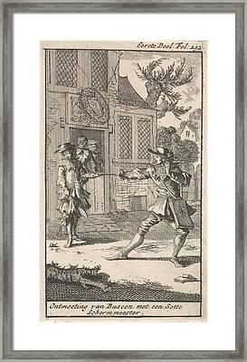 Don Pablo Buscon Meet A Fencing Master Framed Print by Caspar Luyken And Jan Claesz Ten Hoorn