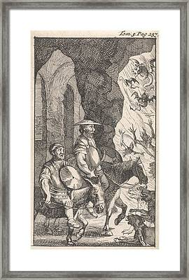 Don Quichotte And Sancho Ride Past A Smithy Which Framed Print by Pieter Mortier