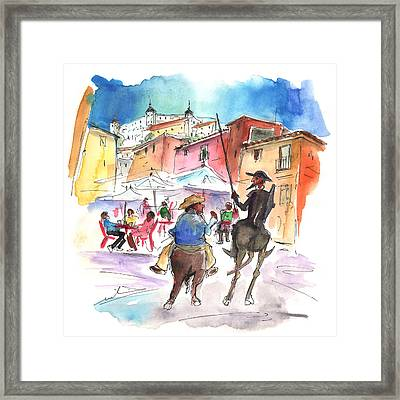 Don Quijote And Sancho Panza Entering Toledo Framed Print
