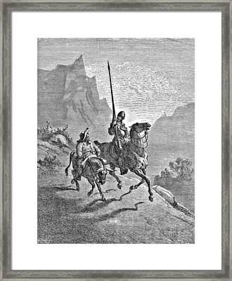 Don Quixote And Sancho Panza Illustration Framed Print by Gustave Dore