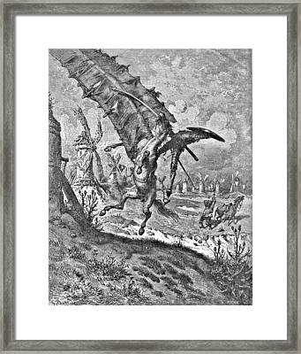 Don Quixote Attacks The Windmill Engraving Framed Print by Gustave Dore