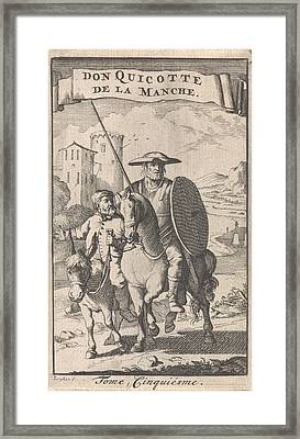 Don Quixote On Horseback, Sancho Next To Him On A Donkey Framed Print by Caspar Luyken And Pieter Mortier