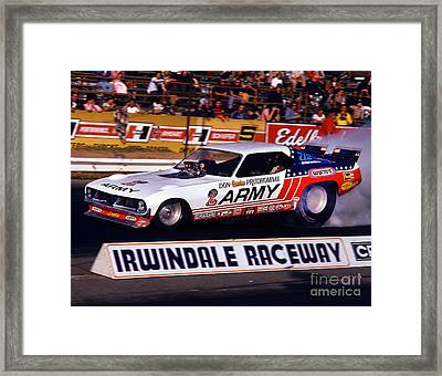 Don The Snake Prudhomme Irwindale Raceway 1970s Framed Print by Howard Koby