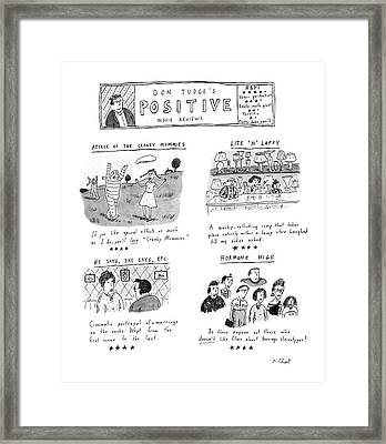 Don Tudge's Positive Movie Reviews Framed Print by Roz Chast