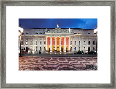 Dona Maria II National Theater At Night In Lisbon Framed Print by Artur Bogacki