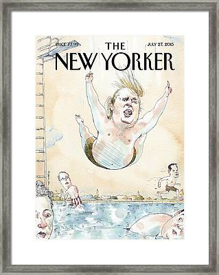 Donald Trumps Belly Flops Into A Swimming Pool Framed Print