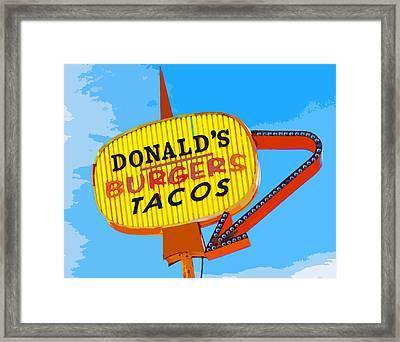Donald's Burgers Framed Print