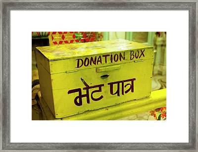 Donation Box, Shree Laxmi Narihan Ji Framed Print by Inger Hogstrom
