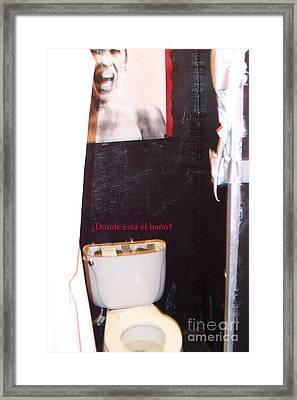 Donde Esta El Bano Framed Print by Corey Garcia