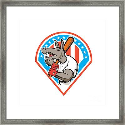 Donkey Baseball Player Batting Diamond Cartoon Framed Print by Aloysius Patrimonio
