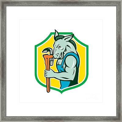 Donkey Plumber Monkey Wrench Shield Retro Framed Print by Aloysius Patrimonio