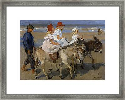 Donkey Rides Along The Beach Framed Print