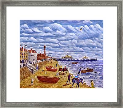 Donkey Rides On Blackpool Beach Framed Print by Ronald Haber