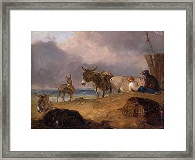 Donkeys And Figures On A Beach, Julius Caesar Ibbetson Framed Print by Litz Collection
