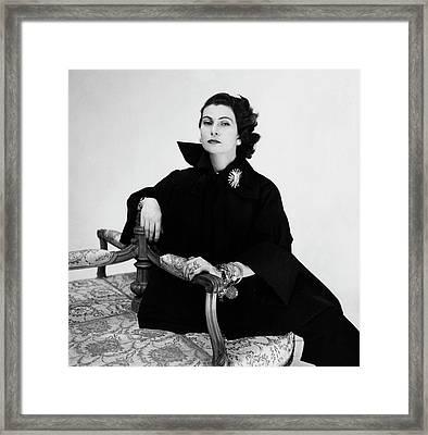 Donna Simonetta Colonna Di Cesaro Wearing A Silk Framed Print