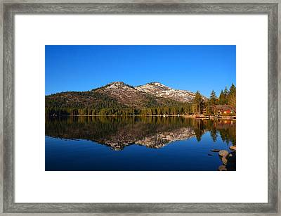 Donner Lake Cabin Reflection Framed Print