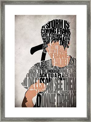 Donnie Darko Minimalist Typography Artwork Framed Print by Ayse Deniz