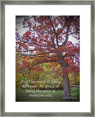 Don't Be Afraid Of Being Different Framed Print
