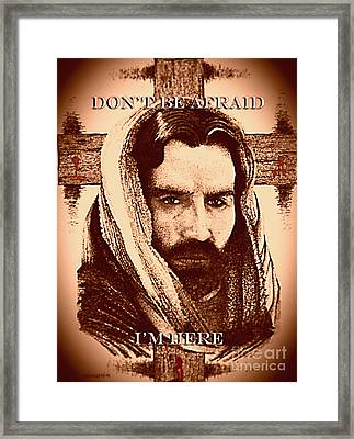 Don't Be Afraid Sepia Drawing With Pen And Ink Framed Print by Mario Perez