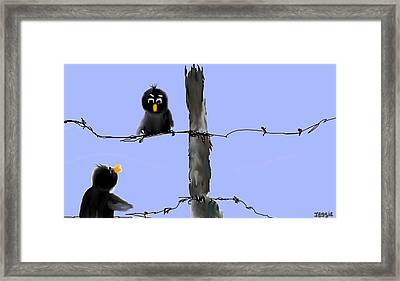 Framed Print featuring the digital art Don't Cross My Fence by Jessica Wright