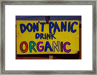 Don't Panic Sign Framed Print by Garry Gay