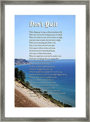 Don't Quit Inspirational Poem Framed Print