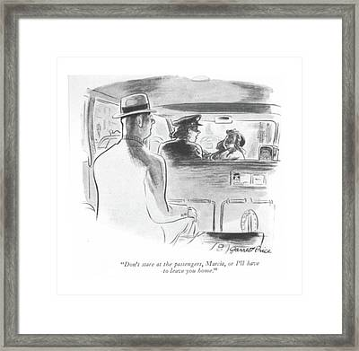 Don't Stare At The Passengers Framed Print by Garrett Price