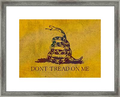 Don't Tread On Me Gadsden Flag Patriotic Emblem On Worn Distressed Yellowed Parchment Framed Print