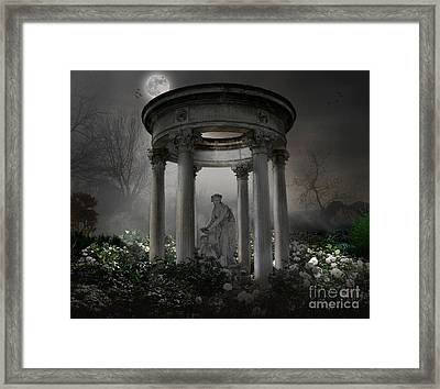 Don't Wake Up My Sleepy White Roses - Moonlight Version Framed Print by Bedros Awak
