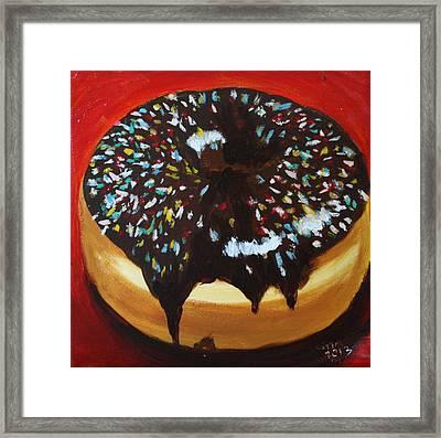 Donut On Red  Framed Print