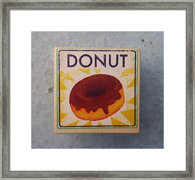 Donut Wood Block Framed Print by Sherry Dooley