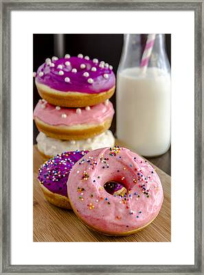 Donuts And Milk Framed Print by Teri Virbickis