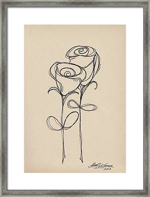 Doodle Roses Framed Print