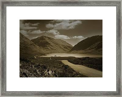 Doolough Pass County Mayo Ireland Sepia Framed Print