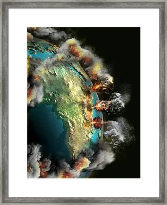 Doomsday Volcanoes Framed Print by Claus Lunau