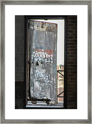 Door Ajar At Packard Plant In Detroit  Framed Print
