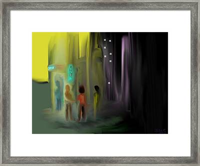 Framed Print featuring the digital art Door Check by Jessica Wright