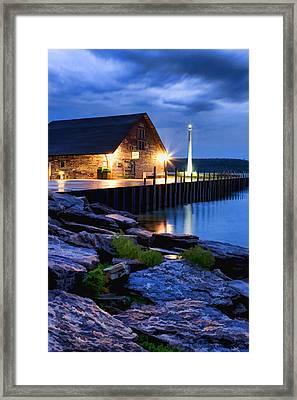 Door County Anderson Dock Twilight Framed Print by Christopher Arndt