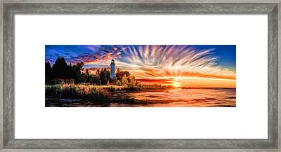 Door County Cana Island Lighthouse Sunrise Panorama Framed Print