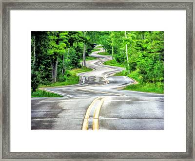 Door County Curvy Road To Northport Along Highway 42 Framed Print