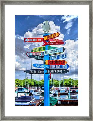 Door County Directional Sign In Egg Harbor Framed Print by Christopher Arndt