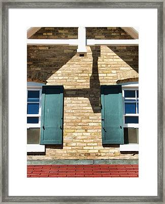 Door County Eagle Bluff Lighthouse Shutters Framed Print by Christopher Arndt