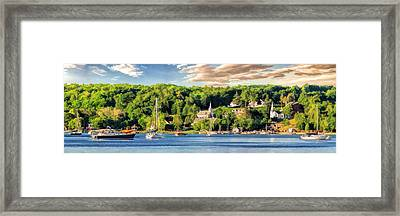 Door County Ephraim Harbor Sunset  Panorama Framed Print by Christopher Arndt