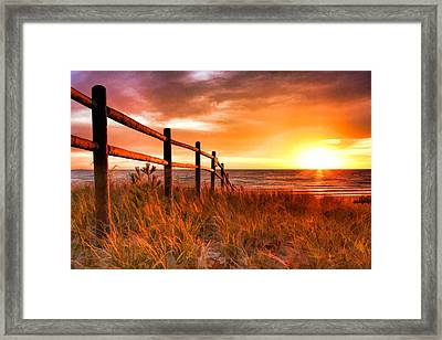 Door County Europe Bay Fence Sunrise Framed Print by Christopher Arndt