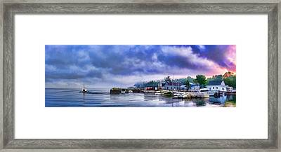Door County Gills Rock Morning Catch Panorama Framed Print by Christopher Arndt