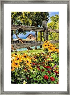 Door County Historic Anderson Dock Fence And Flowers Framed Print